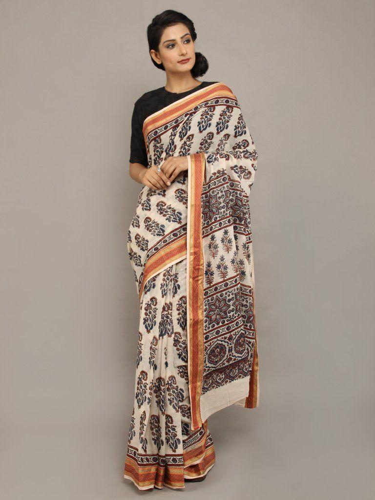 03b05278d1 Off White Black Ajrakh Printed Cotton Saree   sarees   Saree, Black ...