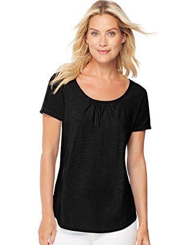 4f0c2d8ed9e Hanes Womens Short-Sleeve Shirred Scoop-Neck Tee 9336