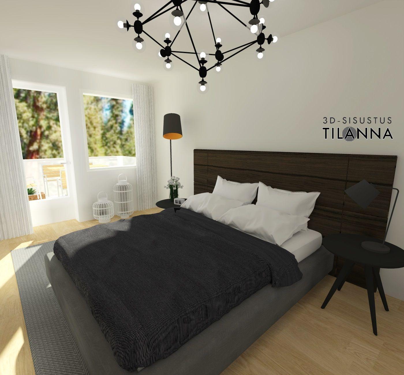 3D-sisustussuunnittelu ja -stailaus/ moderni - skandinaavinen makuuhuone, bola suspension kattovalaisin, tammiparketti, valkoiset seinät (tikkurilan paperi)/ Sancon, Åkerskränden 13 / 3D-sisustus Tilanna