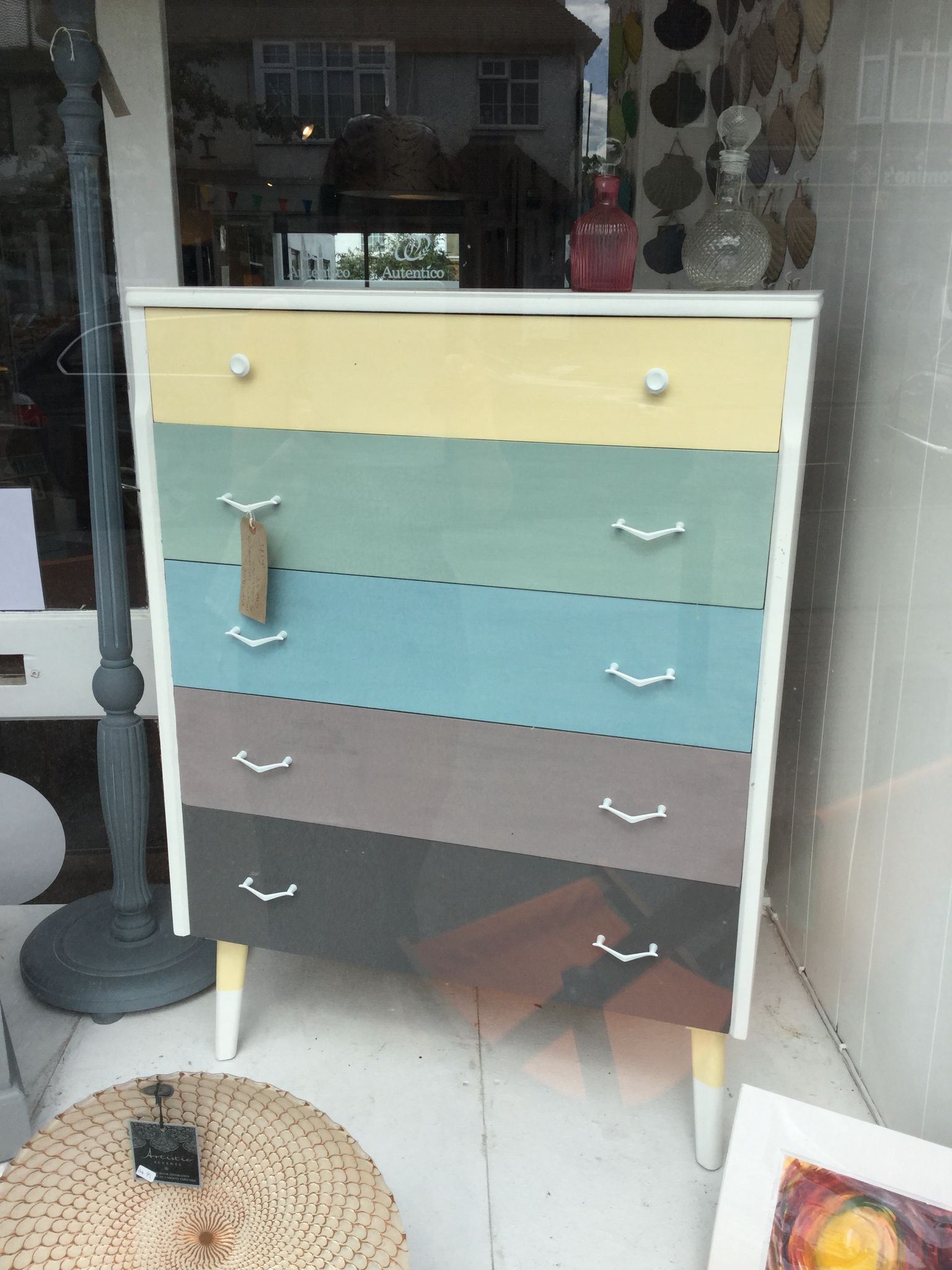 Retro Mid Century Chest Of Drawers Painted In Autentico Chalk  ~ Autentico Chalk Paint Puntos De Venta