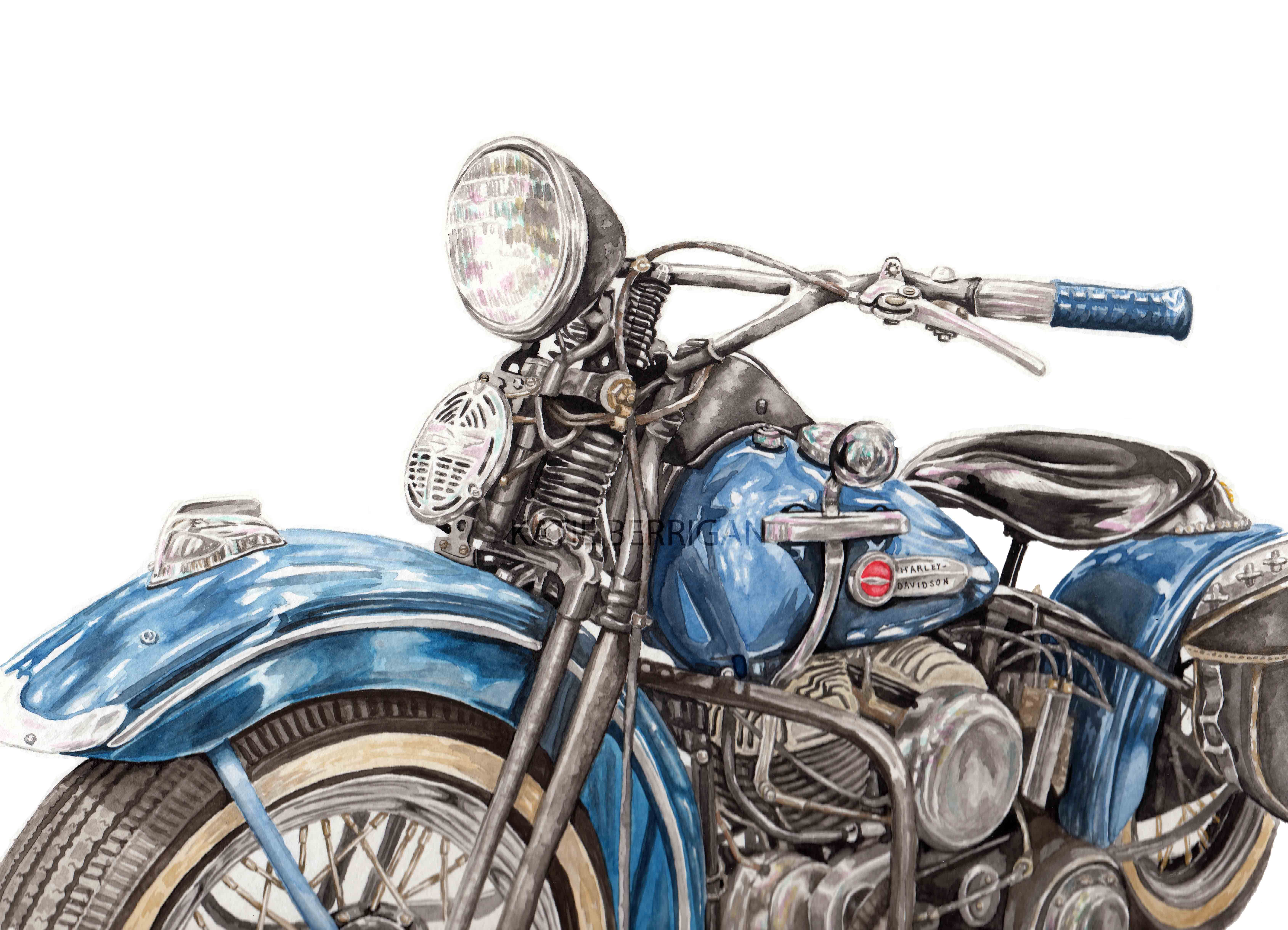 Watercolor vintage Harley Davidson motorcycle / blue moon cycle ...