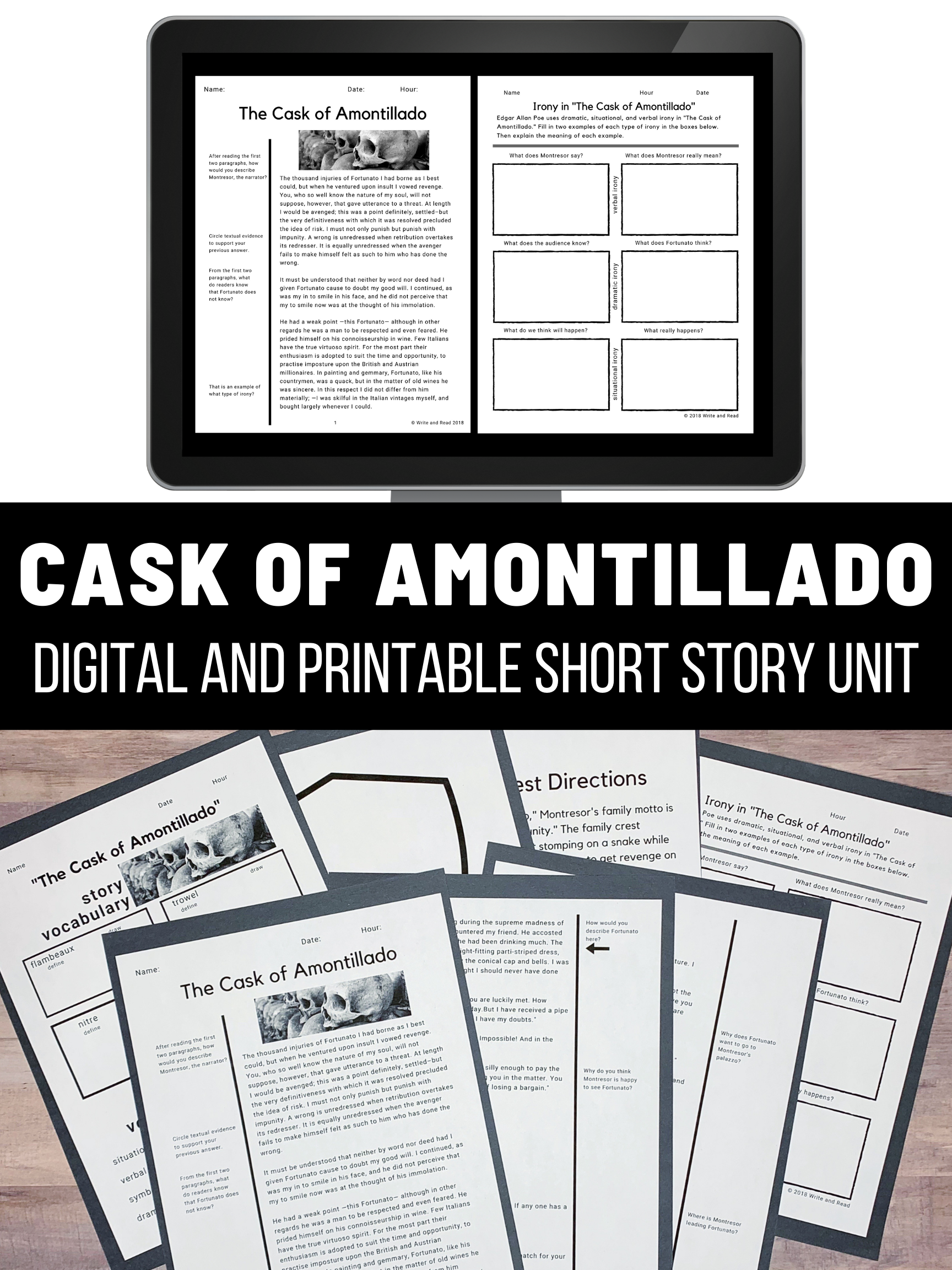 The Cask Of Amontillado Story Unit Digital And Print