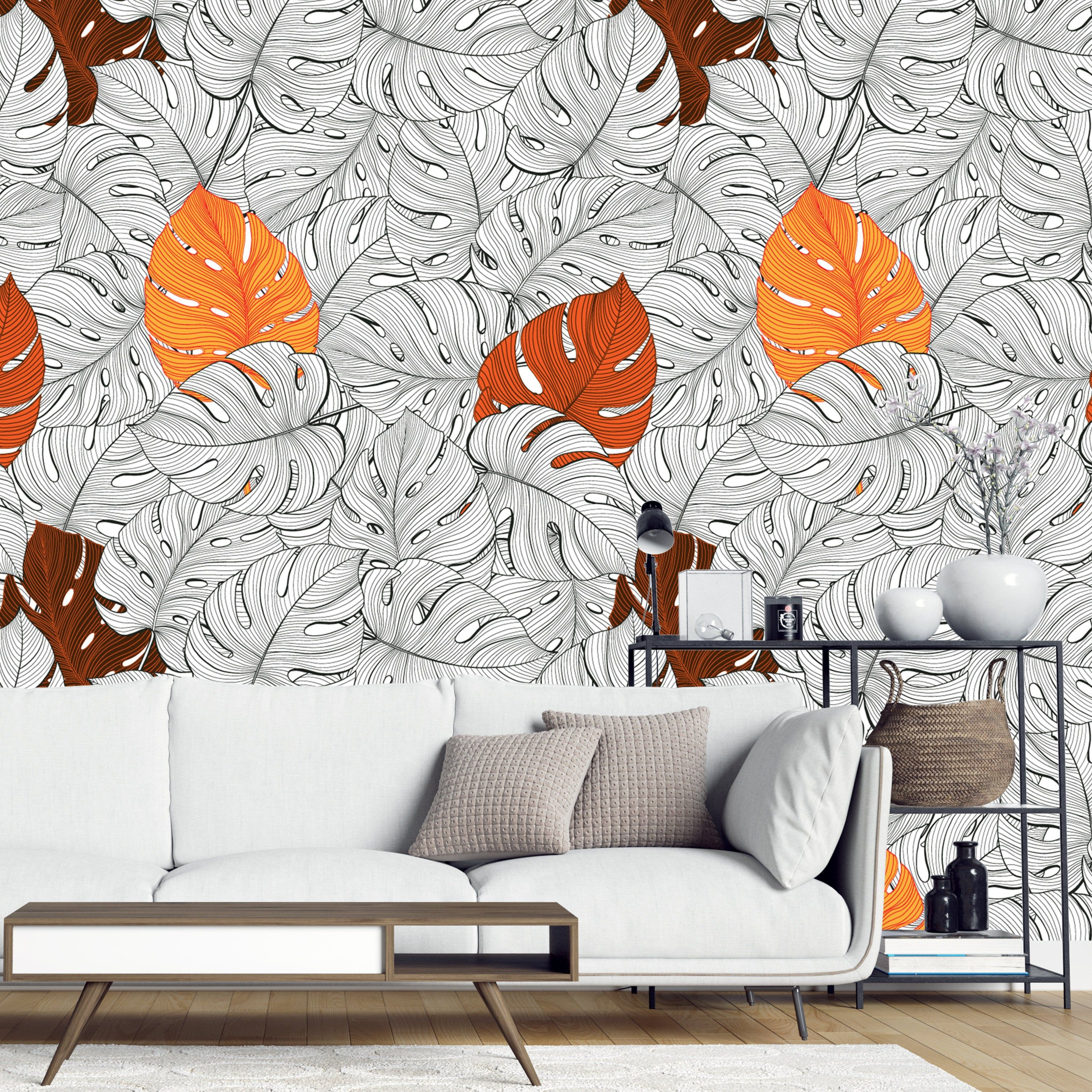 Removable Wallpaper Hand Drawn Autumn Theme Monstera Leaves Etsy Peel And Stick Wallpaper Removable Wallpaper Nursery Wallpaper