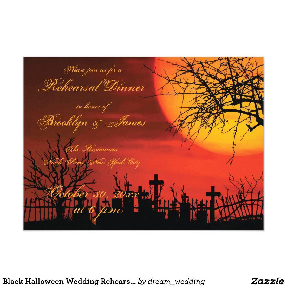Black halloween wedding rehearsal invitations