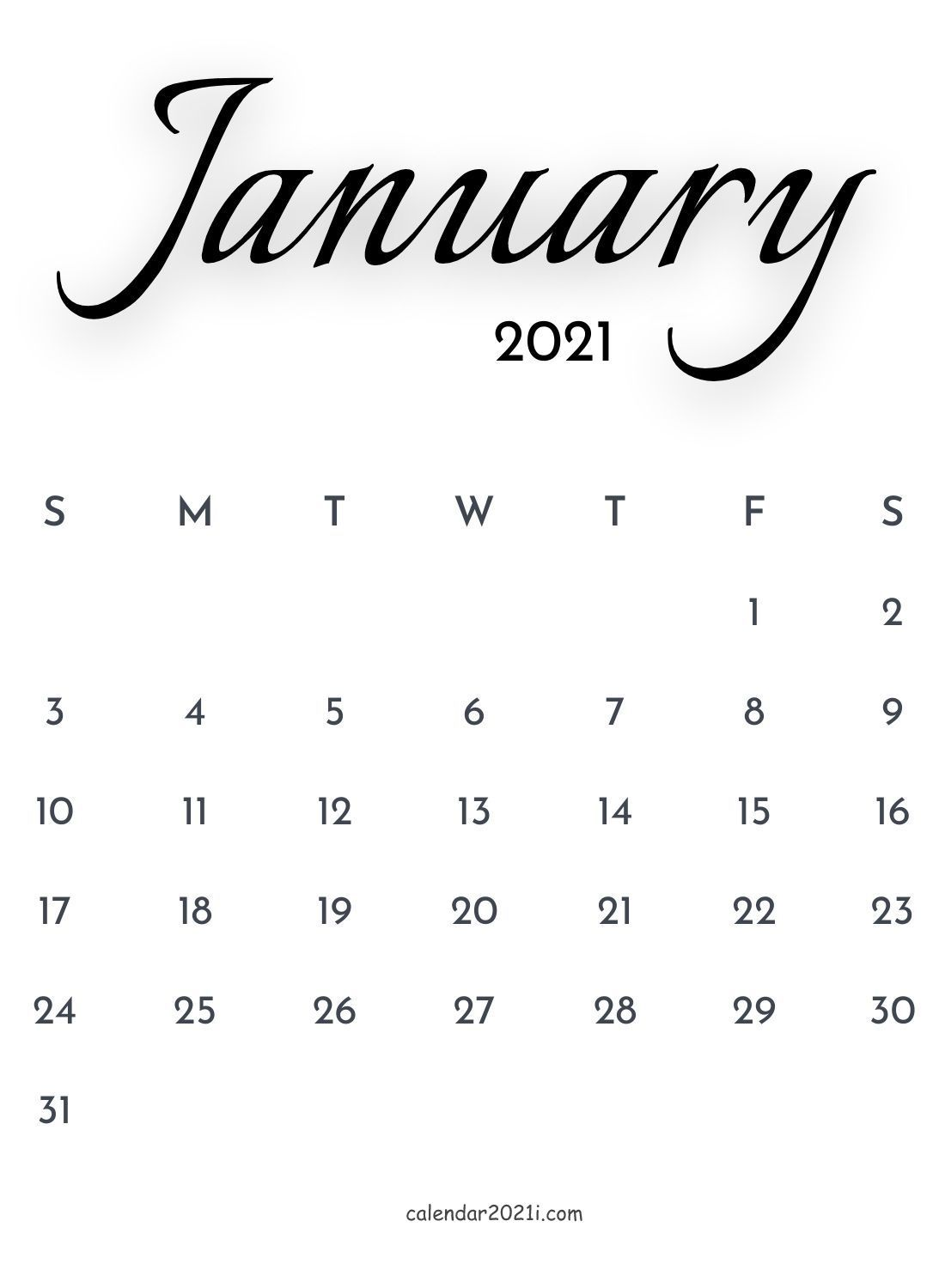 January 2021 Calligraphy Calendar Free download in 2020 ...