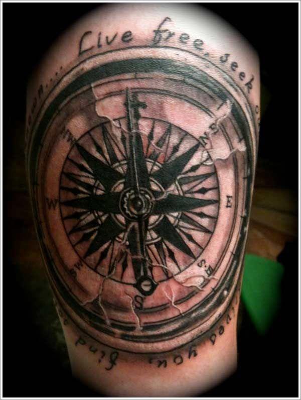 Large nautical compass star tattoo tattoos pinterest for Nautical compass tattoo