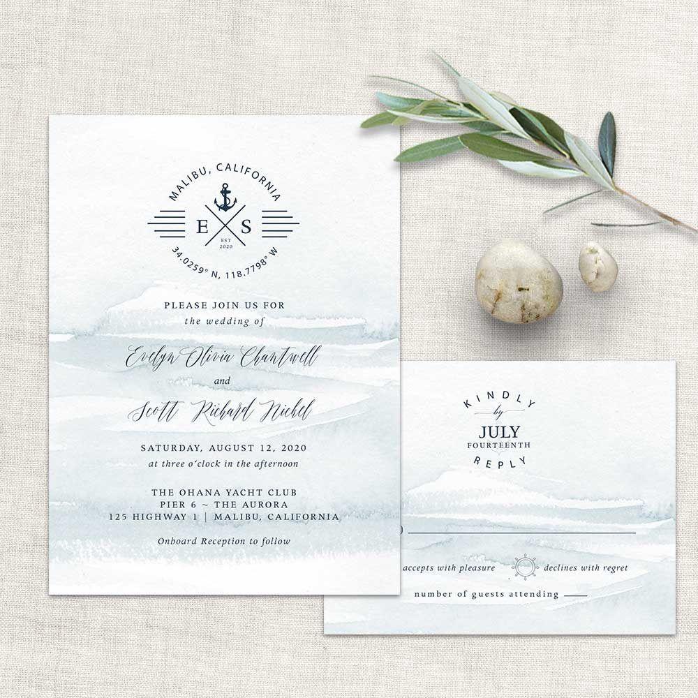 Nautical Wedding Invitations Anchor Ship Wedding Set  Nautical