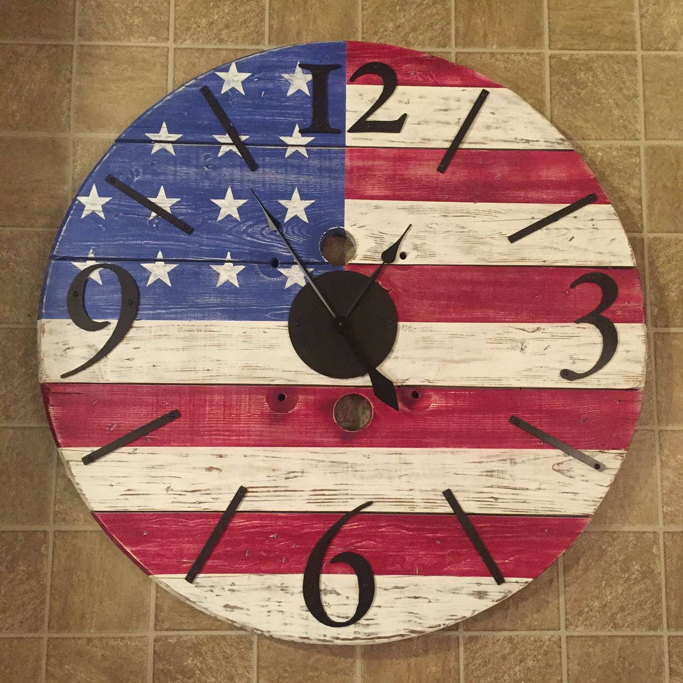 American Flag Spool Clock Krafts For Kritters Projects