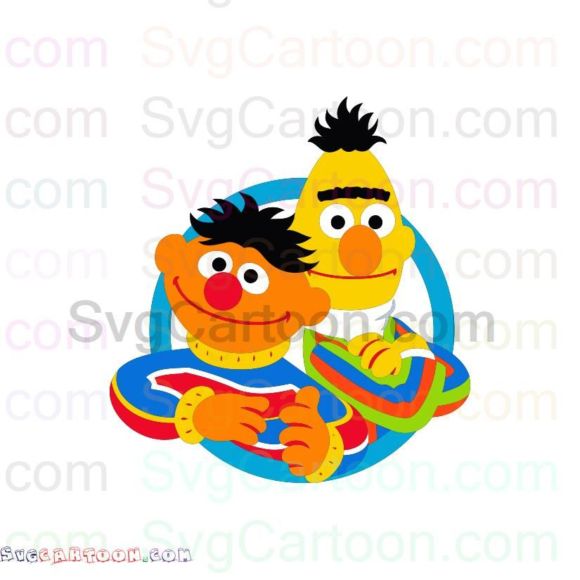 Bert And Ernie In Circle Sesame Street Svg Dxf Eps Pdf Png Sesame Street Svg Bert Ernie
