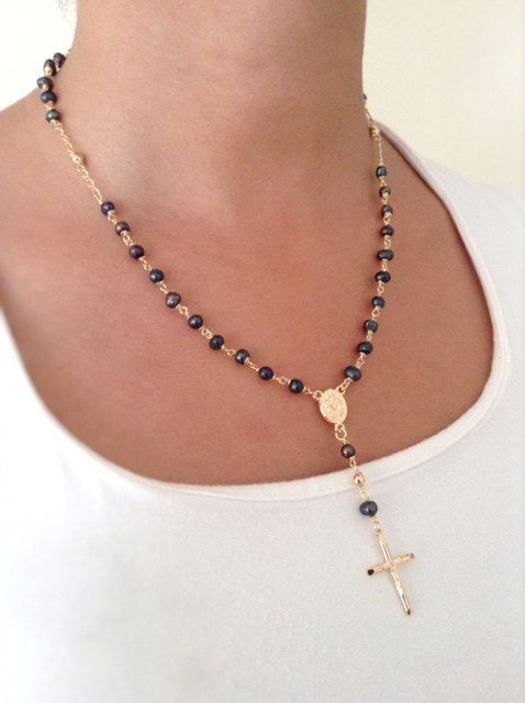 Black pearl necklace gold rosary necklace black freshwater pearl black pearl necklace gold rosary necklace black freshwater pearl rosary gold cross necklace black pearl pendant aloadofball Gallery
