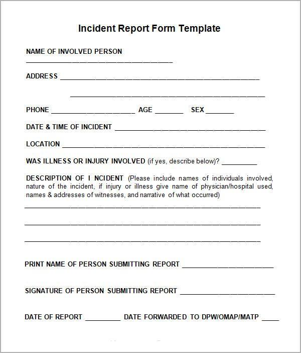 Incident Report Sample Incident Report Template Pinterest - incident report sample