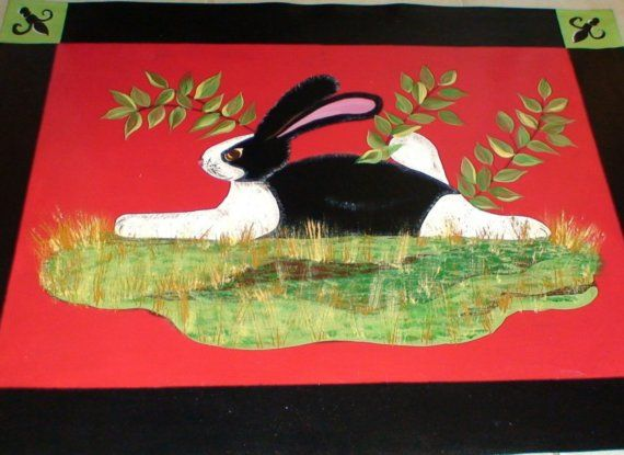Rabbit Painted Floorcloth Painted Rugs Pinterest Rabbit