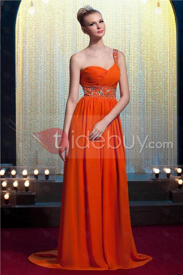 Floor-Length One Shoulder A-Line Sequins Yana's Prom/Evening Dress : Tidebuy.com