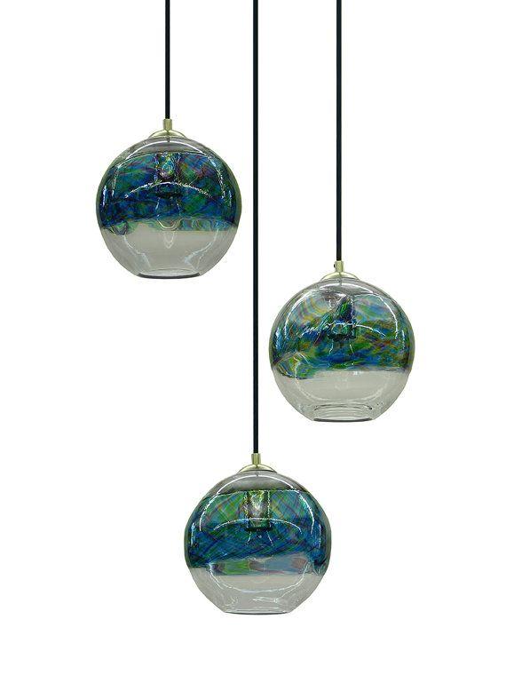 Ocean Banded Hand Blown Glass Pendant Light Chandelier Hanging Lights By Rebecca Zhukov Blown Glass Pendant Light Blown Glass Chandelier Blown Glass Pendant