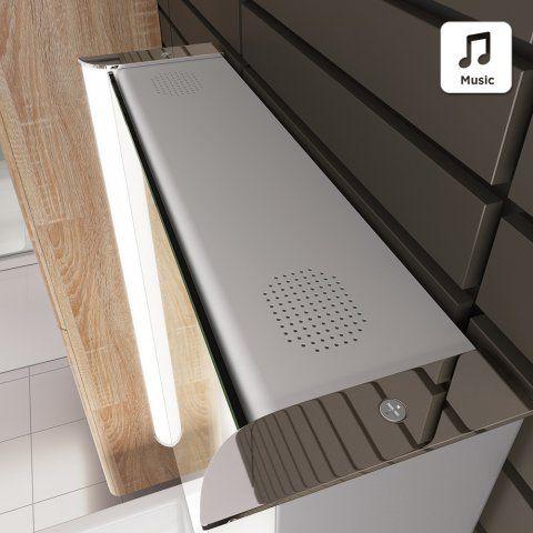 500mmx650mm Luminaire Lluminated Led Mirror Cabinet Bluetooth Speaker Shaver Socket Soak Com
