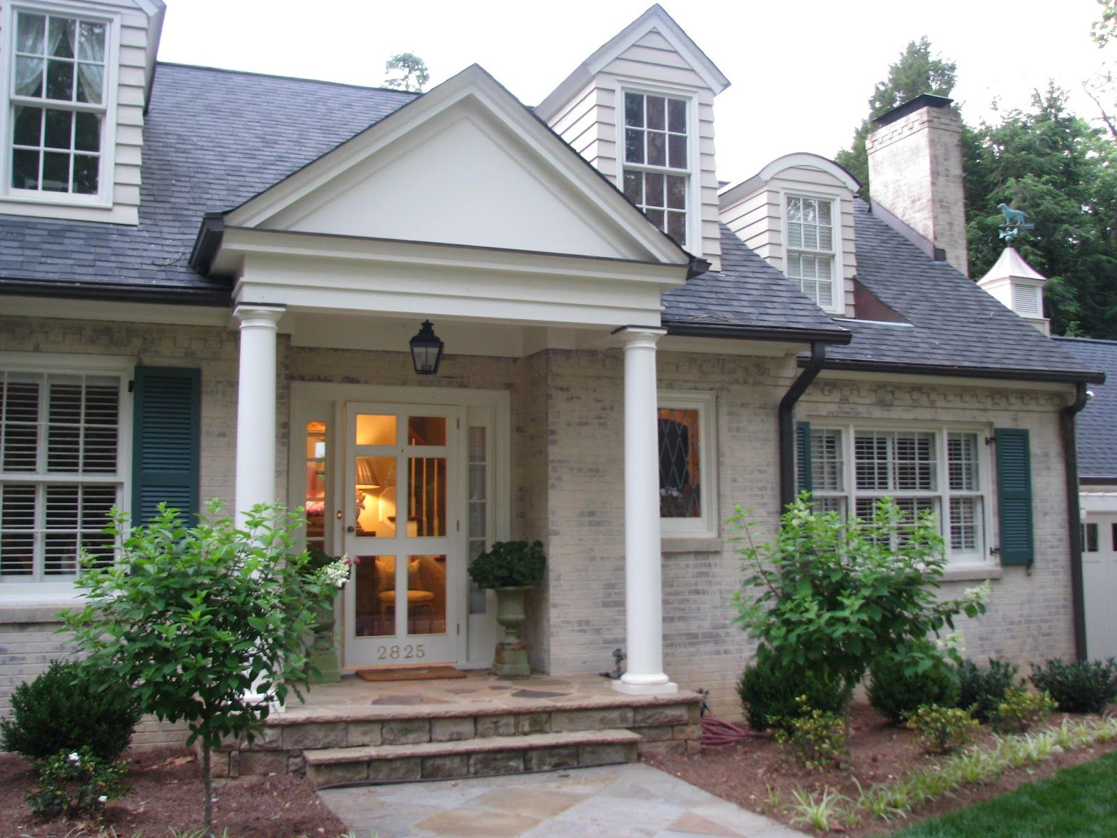 Classic Colonial Cottage Whitewashed Brick Teal