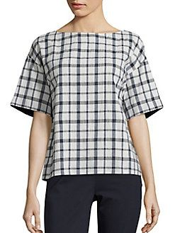 Lafayette 148 New York - Zuri Plaid Cotton Blouse