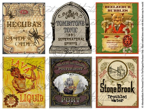 Apothecary Jar Labels  Toil  Trouble Collection Page