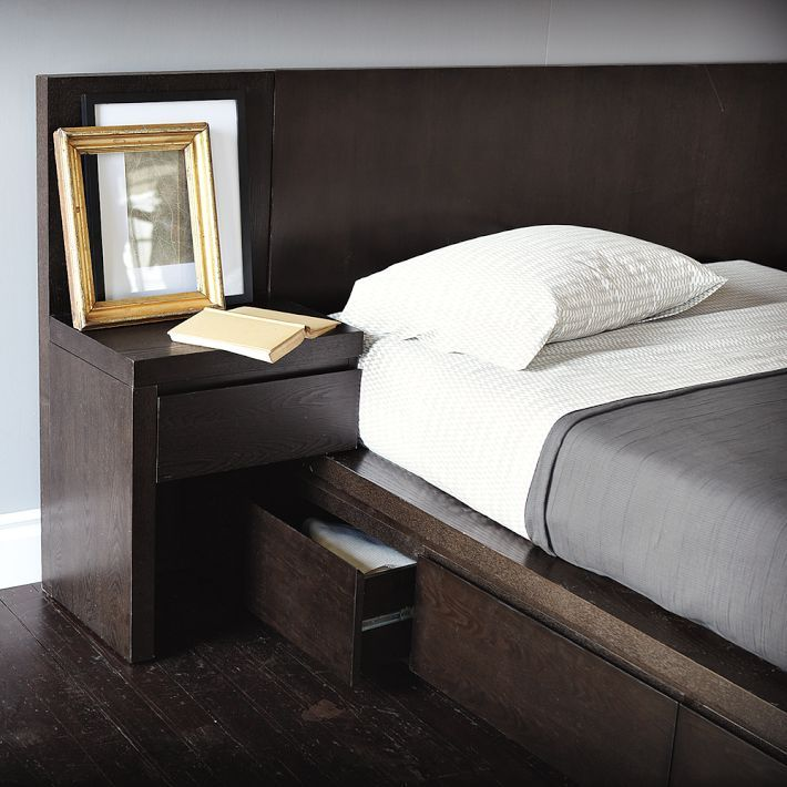 Solid Bed Frame Head And Nightstand All In One Bed Frame