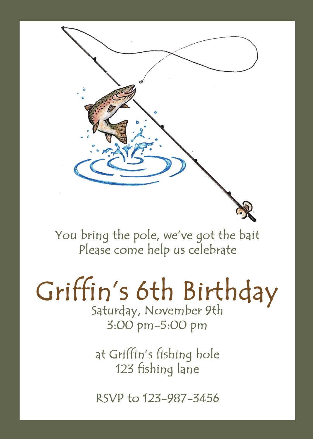 printable fishing party invitation  custom fishing