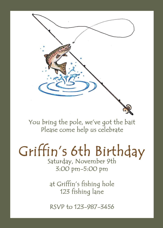 Printable Fishing Party Invitation Custom Fishing Invitation – Pole Party Invitations