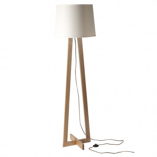 Bodenlampe Stehleuchten modern Holzfuß Stoffschirm 1-flammig CHIARO ...