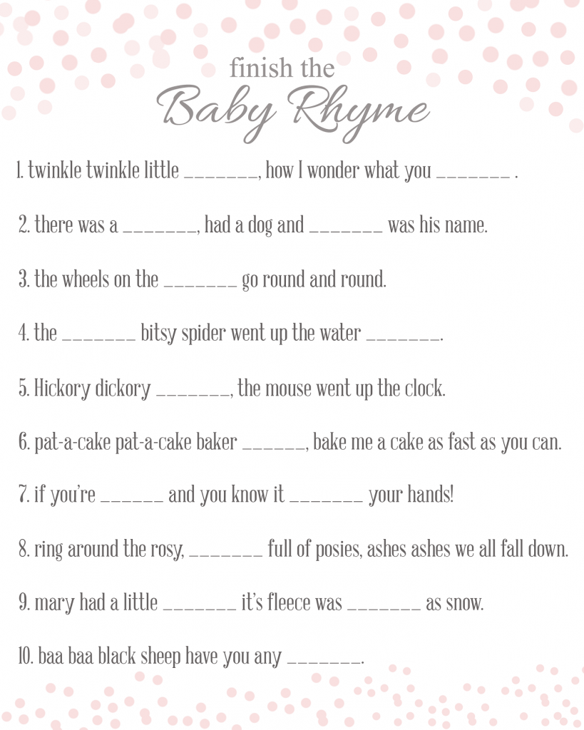 Free Printable Baby Shower Game