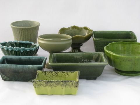 Exceptional Vintage Pottery Planters Lot, All Shades Of Green   Floraline McCoy, Brush  Etc.