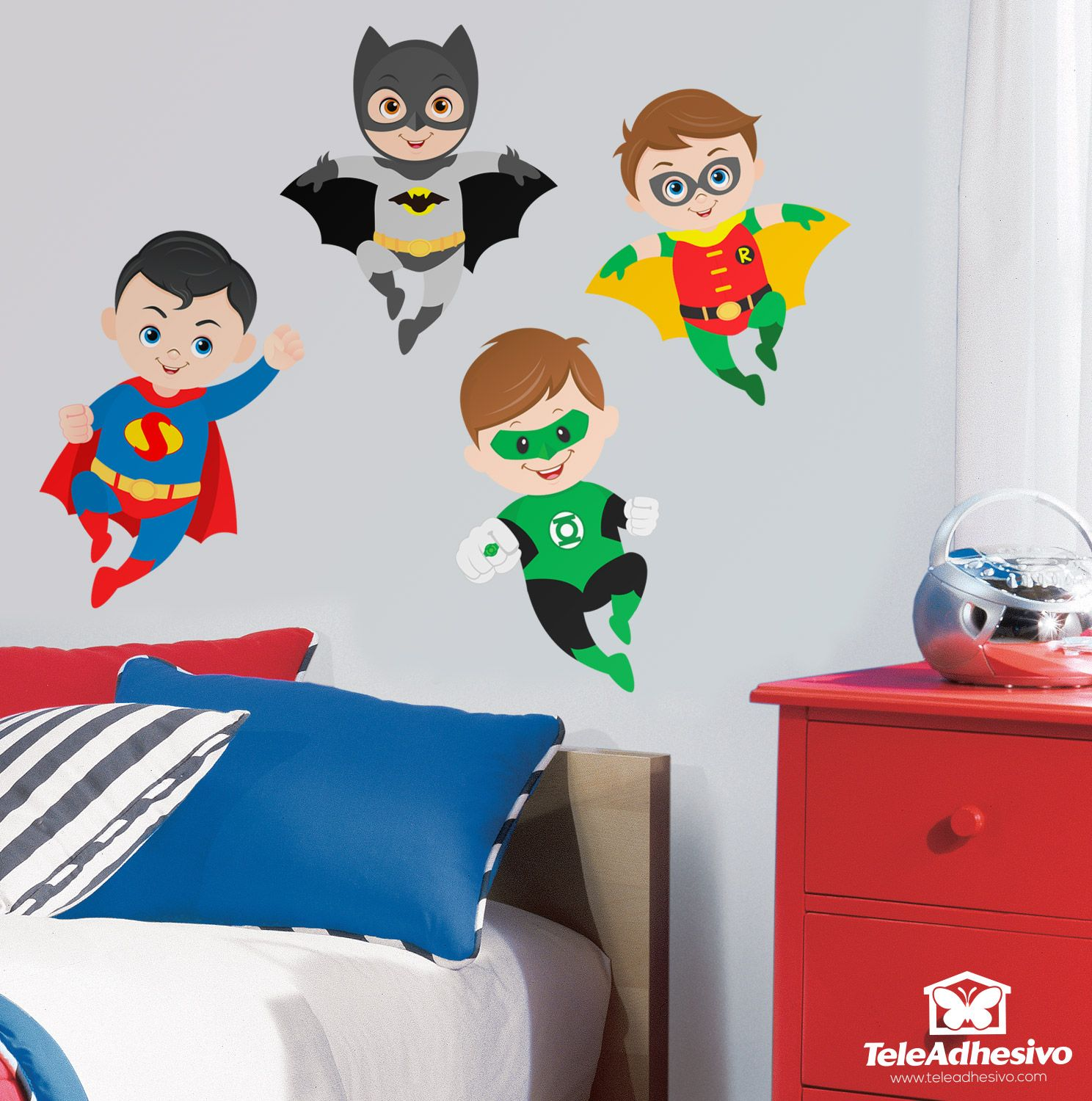 Stickers for kids kit superheroes flying cuartos for Stickers habitacion nina