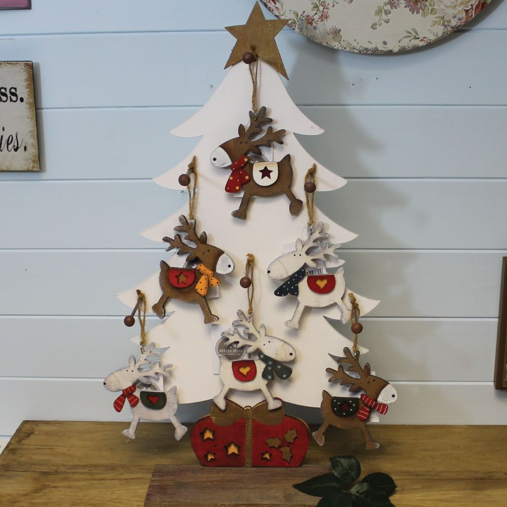 Cute Wooden Reindeer Christmas Tree Hanging Decoration Or