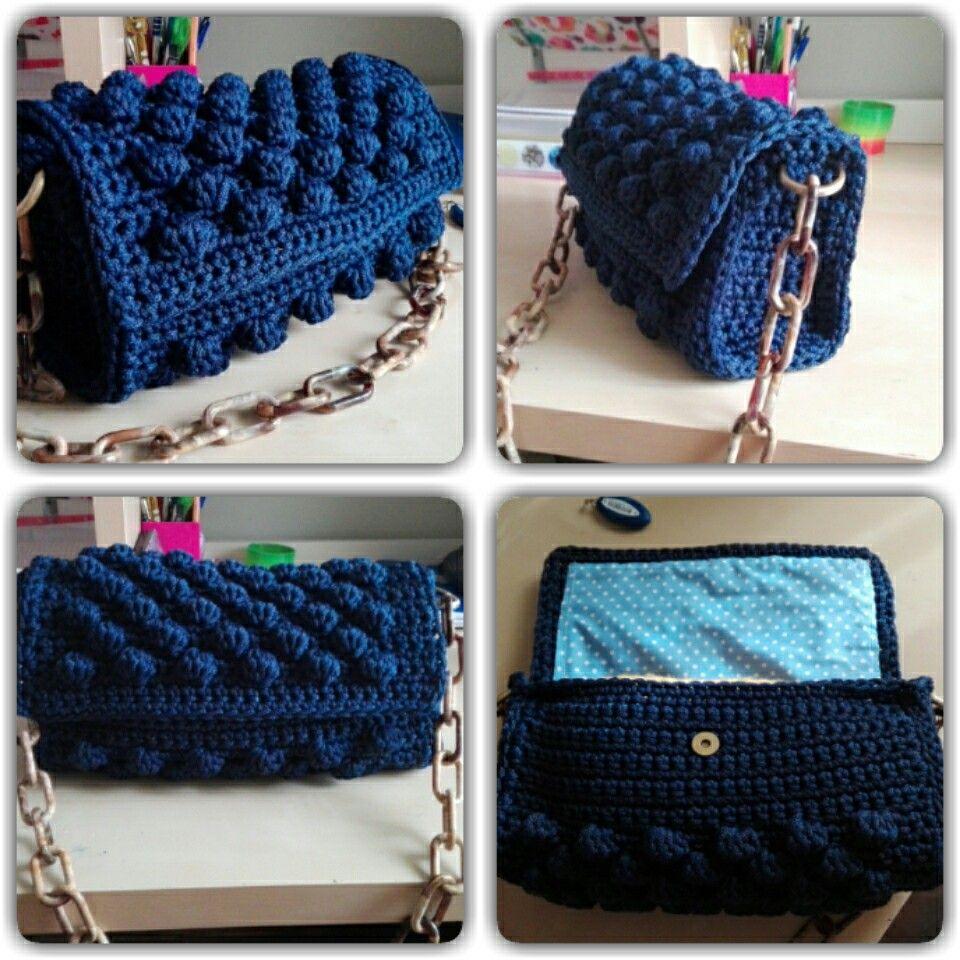 ca6bf227f2 Πλεκτή τσάντα με πλέξη bubble. Bubble stitch crocheted bag.