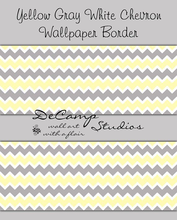Yellow Grey White Chevron Wallpaper Border Wall Art Decals For Baby Girl Or Boy Nursery Children S B Grey Chevron Wallpaper Chevron Wallpaper Wallpaper Border
