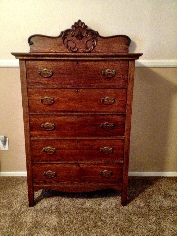 Antique Oak Highboy Dresser With Beautiful Carving And