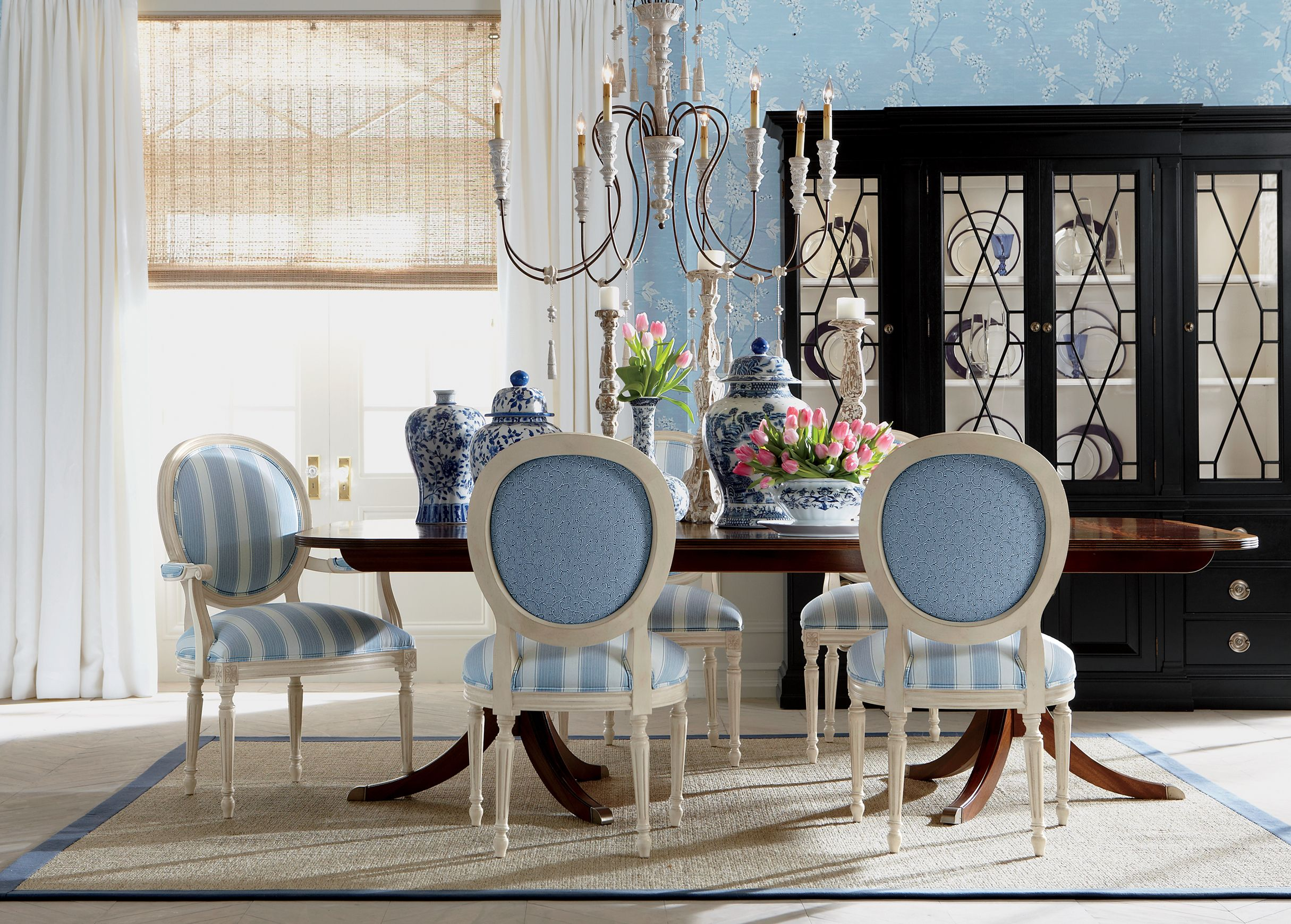 Create A French Style Dining Room With Contrasting Fabrics Best Formal Dining Room Furniture Ethan Allen Decorating Inspiration