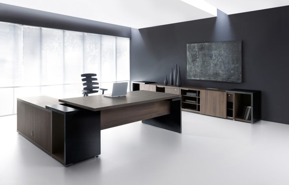 Ultra Modern Executive Black Desk Executive Office Furniture