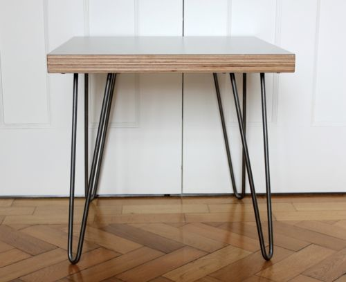 modern retro coffee table hairpin legs plywood formica top