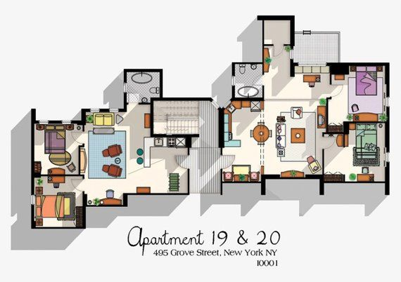 Poster Of Friends Apartment 19 20 A2 A3 Size Both In The For One Price Rachel Green Ross Geller Monica Joey Tribbiani