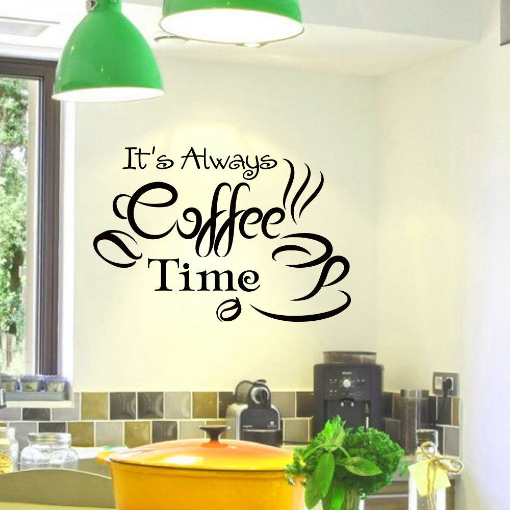 Coffee Kitchen Curtains Amazon Com: Wall Decals Vinyl Sticker Quote It's Always Coffee Time Cup Kitchen Bar Cafe Restaurant Decal