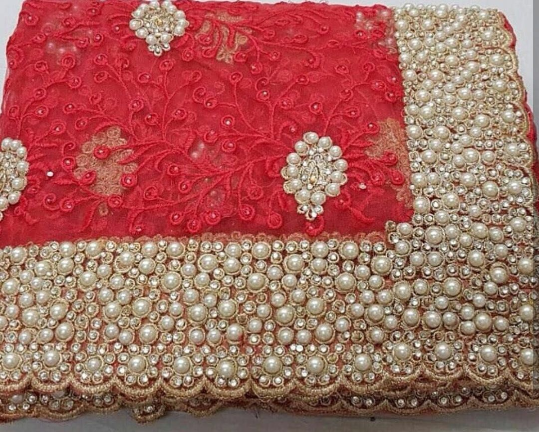 d0d8f289b9 DESIGNER BRIDAL SAREES HEAVY NYLON NET WITH THREAD EMBROIDERY WORK WITH  PEARL STONE