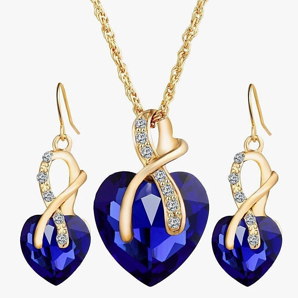 Womens beautiful blue crystal heart necklace earring set k gold