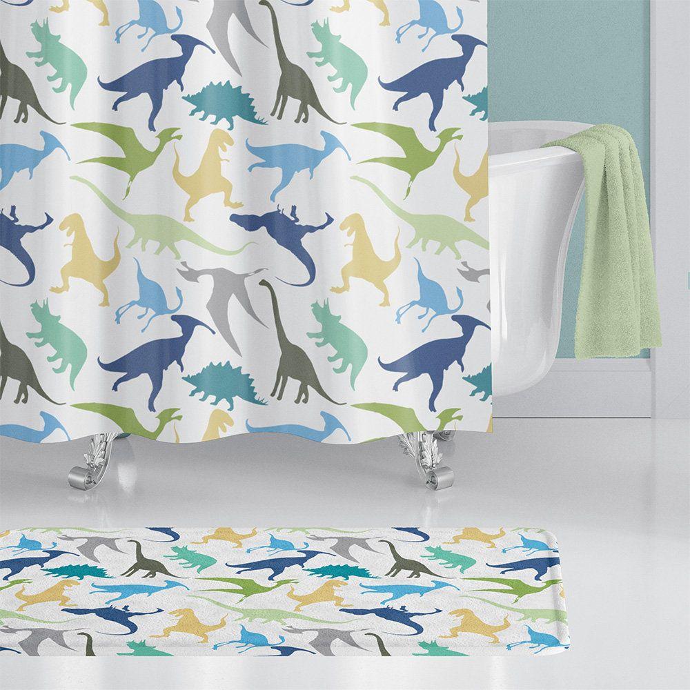 Dinosaur Shower Curtain Dinosaur Bath Mat Dinosaur Towels Blue