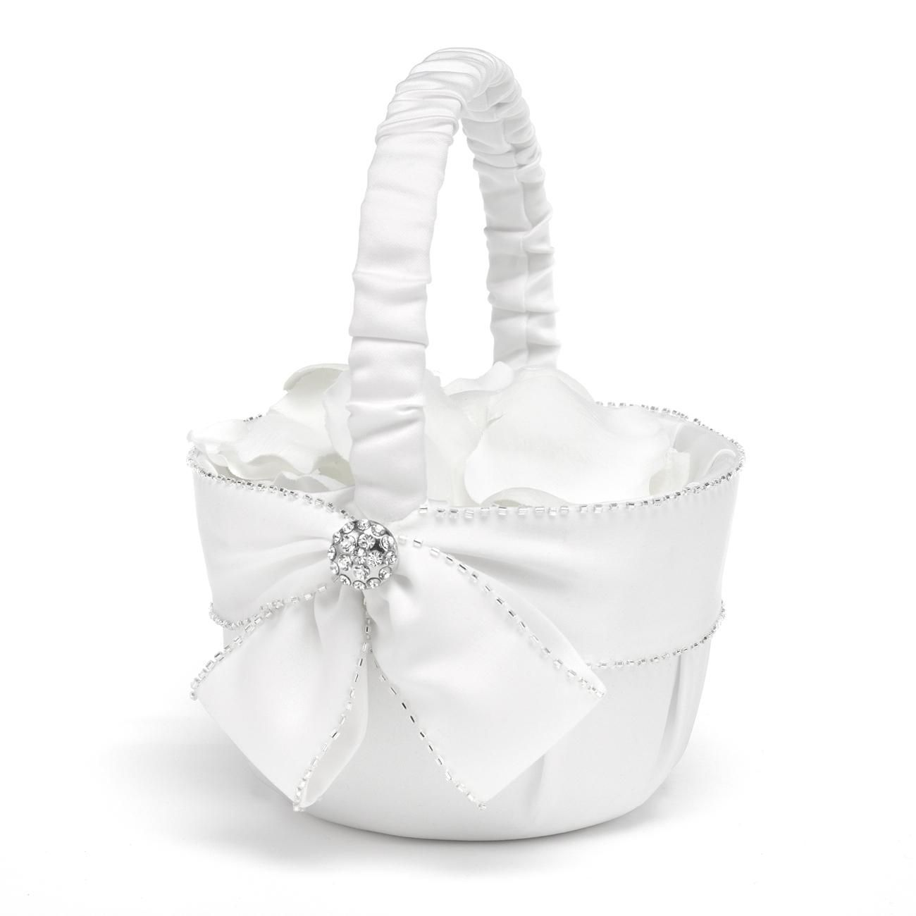 Sparkling Sash Flower Girl Basket Covered In Softly Pleated White