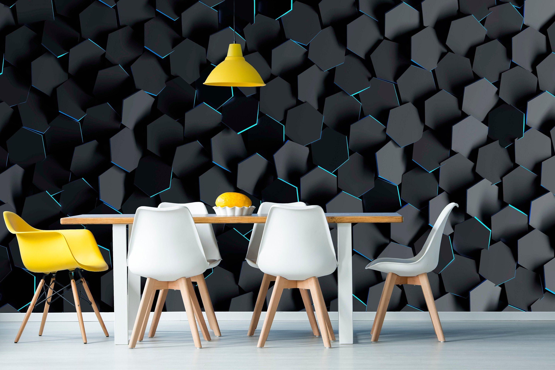3d Black Geometric Wallpaper Peel And Stick Self Adhesive Wall Etsy Geometric Wallpaper Peel And Stick Geometric Wallpaper Wall Painting Living Room