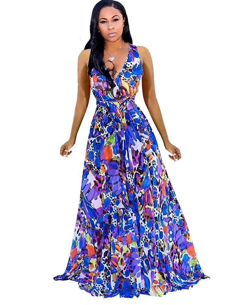 Womens Maxi Dresses Summer Sleeveless Wrap V Neck Chiffon Floral Beach Long Casual Dress At Amazon Long Dress Casual Summer Maxi Dress Long Summer Dresses Maxi [ 1001 x 800 Pixel ]