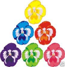 6 X FLOWER PANSIES DECALS STICKERS WALL CAR FURNITURE any flat surface