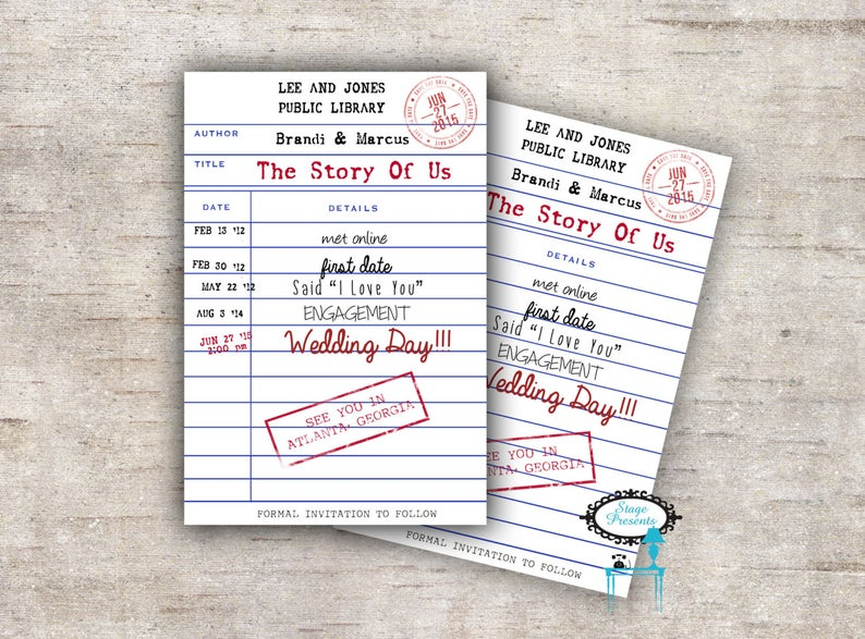 Personalized Library Card Save The Date Book The Date