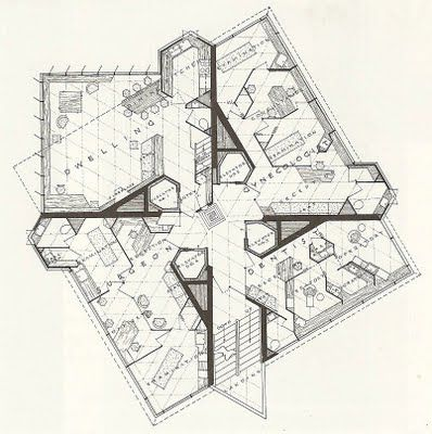 """The """"New American Village"""": Frank Lloyd Wright's Price Tower, Bartlesville, Oklahoma - Typical Floor Plan"""