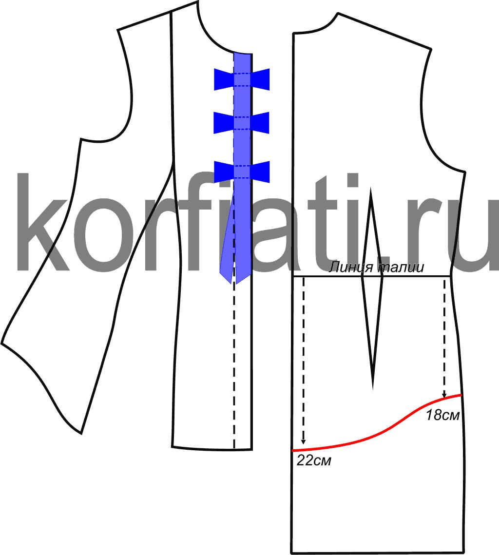 f1a3a5f1abb Выкройка блузки с рукавом фонарик - планка и спинка