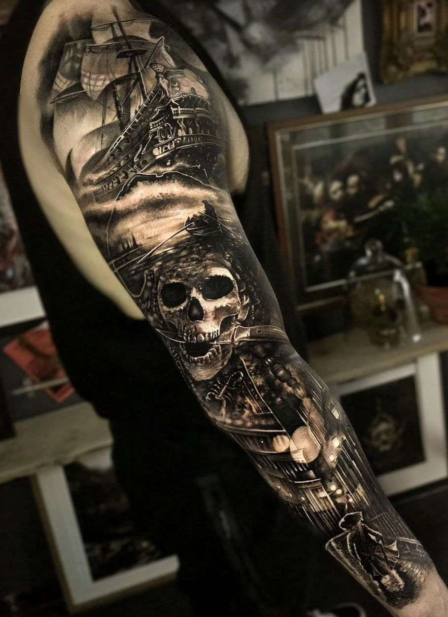 Shiver Me Timbers A Pirate Sleeve By Matthew James An Artist Working In Bristol England Cool Arm Tattoos Arm Tattoos For Guys Nautical Tattoo Sleeve