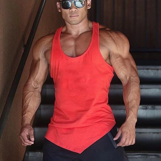 Bodybuilding Mens Solid Color Y Back Vest Gyms Fitness Clothing Sleeveless Shirt